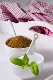 Stevia Powser and Brown Sugar. Natural Sweeteners. Stock Images