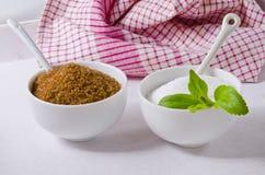 Stevia Powser en Bruine Suiker Natuurlijke Zoetmiddelen Royalty-vrije Stock Afbeelding