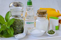 Stevia Products. Natural Sweetener. Royalty Free Stock Image