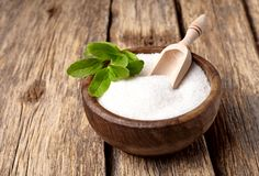 Free Stevia Rebaudiana, Sweet Leaf Sugar Substitute Isolated In Wooden Bowl On Wooden Background Stock Image - 127393741