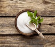 Free Stevia Rebaudiana, Sweet Leaf Sugar Substitute Isolated In Wooden Bowl On Wooden Background Royalty Free Stock Photos - 134866858
