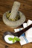 Stevia secca e di cristallo Fotografie Stock