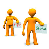 Stevia Sugar. Orange cartoon characters with stevia and sugar Stock Images
