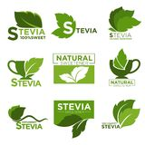 Stevia sweetener sugar natural substitute vector healthy product icons and labels Royalty Free Stock Photo