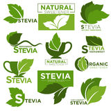 Stevia sweetener sugar substitute vector healthy product icons and labels Royalty Free Stock Photo