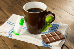Stevia tabs and chocolate Stock Photos