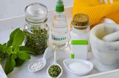 Steviaprodukter naturlig sweetener Arkivfoto