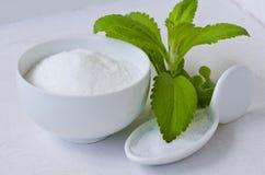 Steviapulver naturlig sweetener Royaltyfri Bild