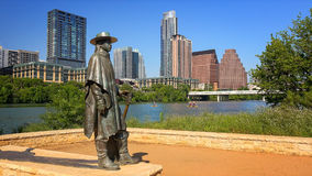 Stevie Ray Vaughan Sculpture in Front of Downtown Austin, Texas Stock Photos