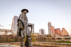 Stevie Ray Vaughan Statue. AUSTIN, TX - JANUARY 15, 2016 - Stevie Ray Vaughan Statue stands on the edge of Lady Bird Lake (Town Lake) just off the hike and bike Royalty Free Stock Photography