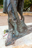 Stevie Ray Vaughan statue in front of downtown Austin and the Co Royalty Free Stock Images
