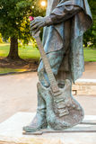 Stevie Ray Vaughan statue in front of downtown Austin and the Co Royalty Free Stock Photography