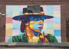 Stevie Ray Vaughn wall mural by Steve Hunter, Deep Ellum, Texas. Pictured is Stevie Ray Vaughn, one of the wall murals of the 42 murals project in Deep Ellum Stock Photography