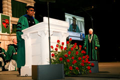 Stevie Wonder. Speaking at Tulane University's Commencement Ceremony where he received an Honorary Doctorate on his birthday in 2011 stock photo
