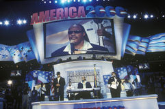 Stevie Wonder performs at Al Gore's nomination Stock Photos