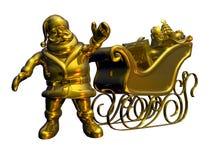 Stevige Gouden Kerstman - met het knippen van weg Stock Foto