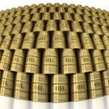 Stevige gouden muur van olievaten Stock Foto's