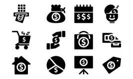 Stevige het Pictogramreeks van het geldmalplaatje royalty-vrije illustratie