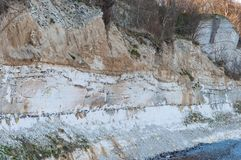 Stevns cliffs. Is beautiful geology in Countryside Denmark stock photography