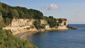 Stevns Klint, απότομος βράχος πετρών κιμωλίας στη Ανατολική Ακτή της Δανίας Στοκ εικόνα με δικαίωμα ελεύθερης χρήσης