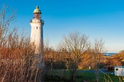 Stevns Lighthouse in Denmark. At Stevns Lighthouse, you are at the highest point along Stevns Klint which is a Unesco world heritage area in Denmark Royalty Free Stock Photo