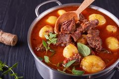 Stew βόειου κρέατος ένας-δοχείων με τις καινούριες πατάτες στοκ εικόνες