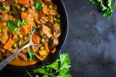 Stew βόειου κρέατος με τα λαχανικά στο σκοτεινό υπόβαθρο Στοκ φωτογραφία με δικαίωμα ελεύθερης χρήσης