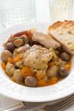 Stew κουνελιών με τα μανιτάρια και καρότο στο άσπρο πιάτο Στοκ φωτογραφία με δικαίωμα ελεύθερης χρήσης