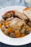 Stew κουνελιών με τα μανιτάρια και καρότο στο άσπρο πιάτο Στοκ Εικόνα
