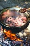 Stew πυρών προσκόπων υπαίθριο μαγείρεμα Στοκ Φωτογραφία