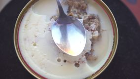 Stew το βόειο κρέας χοιρινού κρέατος κρέατος που κονσερβοποιείται με ένα κουτάλι, περιστρέφεται απόθεμα βίντεο