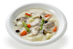 Stew. Milk and pork stew in plate Stock Photo