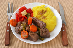 Stew beef with mashed potato Royalty Free Stock Photos