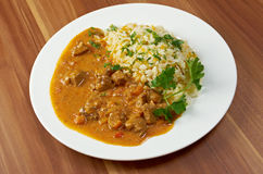Stew of beef and pork with rice Stock Photo