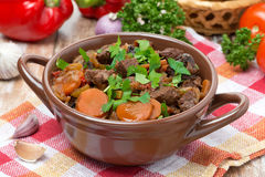 Stew with beef, vegetables and prunes Royalty Free Stock Photography