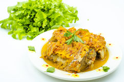 Stew. Braised fish with green lettuce on a white background Royalty Free Stock Image