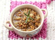 Stew of brown lentils Stock Images