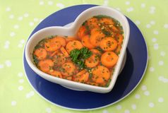 Stew of carros with herbs. A fresh stew of carrots with green herbs Stock Images