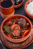 Stew in ceramic bowl with rice Royalty Free Stock Images