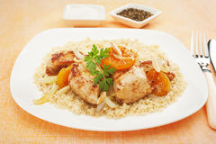 Stew Chicken Apricot Tagine with Couscous Royalty Free Stock Photos