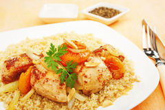 Stew Chicken Apricot Tagine with Couscous Royalty Free Stock Photography
