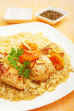 Stew Chicken Apricot Tagine with Couscous Stock Photography
