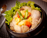 Stew of chicken salad with tomatoes, chili and lettuce stock image