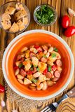 Stew with chicken, sausages, beans, tomatoes, homemade autumn di stock image