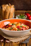 Stew with chicken, sausages, beans, tomatoes, homemade autumn di royalty free stock photo