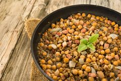 Chickpea and bacon stew Royalty Free Stock Photos