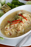 Stew crab with coconut milk dip and fresh vegatables Royalty Free Stock Images
