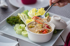 Stew crab with coconut milk dip with fresh vegetables Royalty Free Stock Image