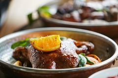 Stew duck in plate royalty free stock photo