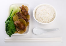 Stew ginger duck with rice and vegetable Royalty Free Stock Image